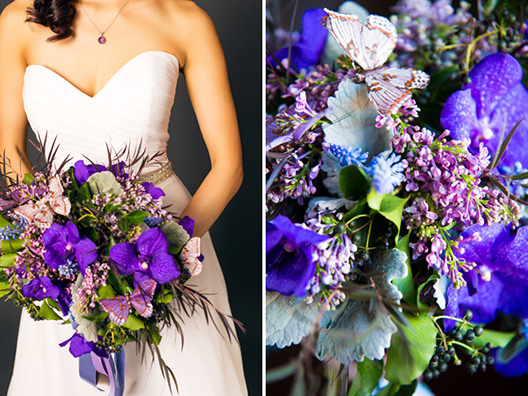 Bride holding a purple flowers bouquet